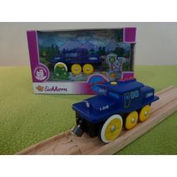 Jeżdżąca lokomotywa do torów drewnianych - nakręcana - niebieska