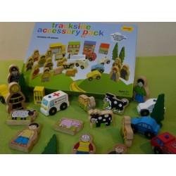 Zestaw dekoracji - drewniane: zwierzątka, ludziki, domki i samochody
