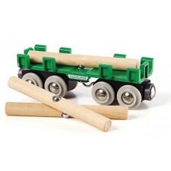 Duży wagon z drewnem do dźwigów magnetycznych