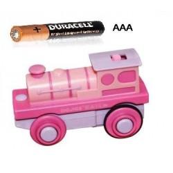 Różowa lokomotywa elektryczna