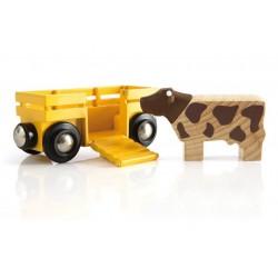Wagon do transportu zwierząt z krową