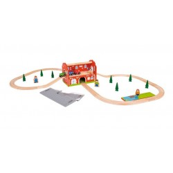 Dworzec - zestaw kolejki - zabawka przenośna