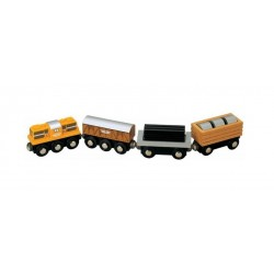 Pociąg towarowy z wagonem z walcami