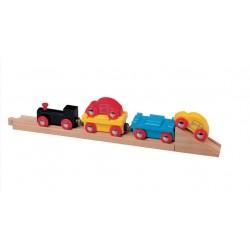 Pociąg do transportu samochodów wraz z torami i rampą