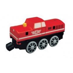 Czerwona, manewrowa lokomotywa elektryczna