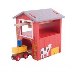 Piętrowy magazyn siana z dźwigiem - kolejowa stodoła