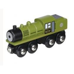 Zielony długi parowóz z wbudowanym zasobnikiem węgla