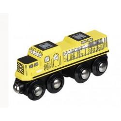 Żółta, silna lokomotywa towarowa