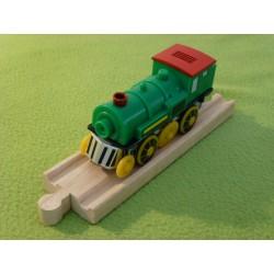 Pociąg górski - zielona lokomotywa elektryczna