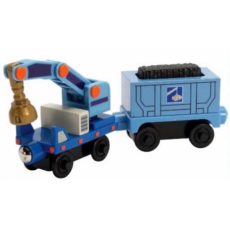 Wagon z dźwigiem z kamieniołomów w Stacyjkowie