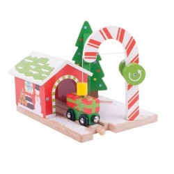Dźwig świąteczny z wagonikiem pełnym prezentów