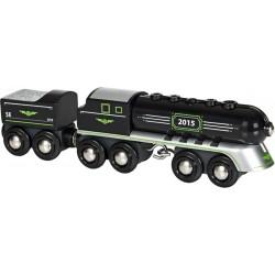 Czarny pocisk - lokomotywa drewniana