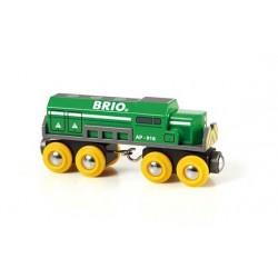 Zielona ciężka lokomotywa towarowa Brio
