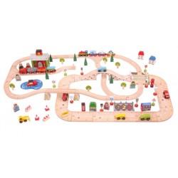 Wielki zestaw miejski drogowo-kolejowy