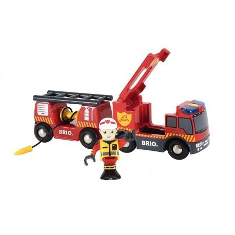 Kolejowa straż pożarna wóz z wagonem