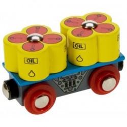 Wagon z beczkami oleju