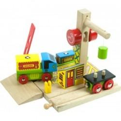 Port przeładunkowy - zestaw statek + ciężarówka + wagon + dźwig