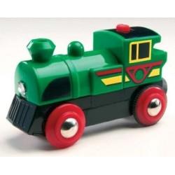 Mała, sprytna, zielona lokomotywa na baterie