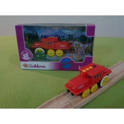 Jeżdżąca lokomotywa do torów drewnianych - nakręcana - czerwona