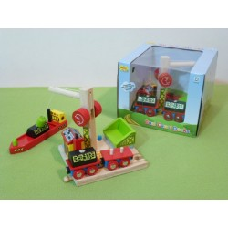 Port przeładunkowy - węgla - z wagonami, dźwigiem i statkiem - wyprzedaż